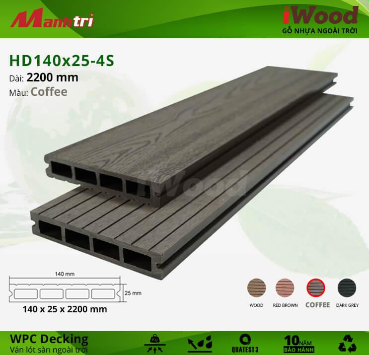 Sàn gỗ iWood HD140x25-4S-Coffee