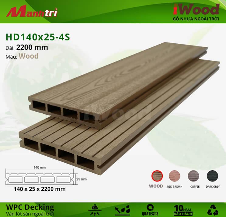 Sàn gỗ iWood HD140x25-4S-Wood