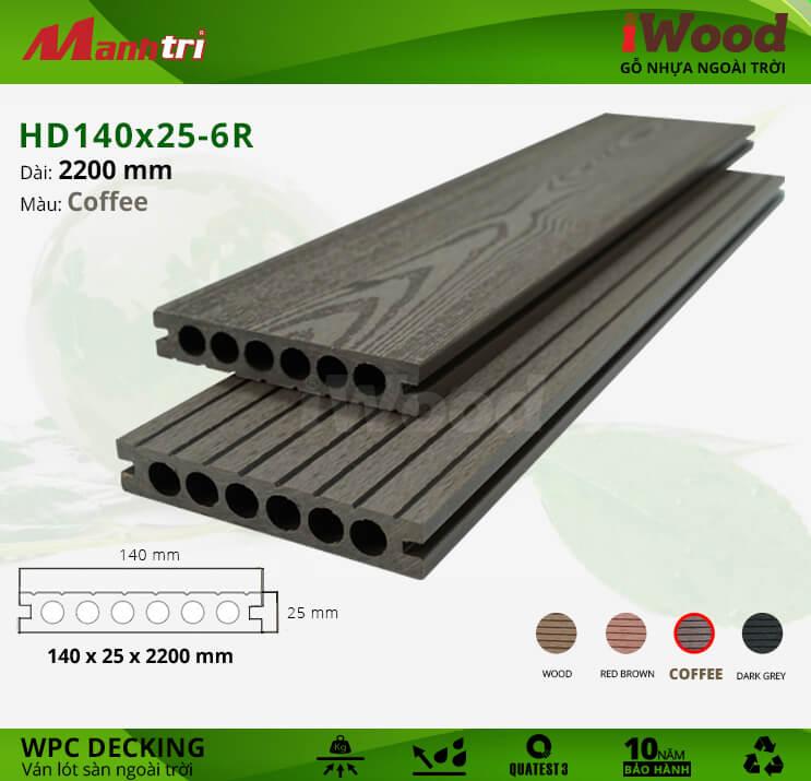 Sàn gỗ iWood HD140x25-6R-Coffee