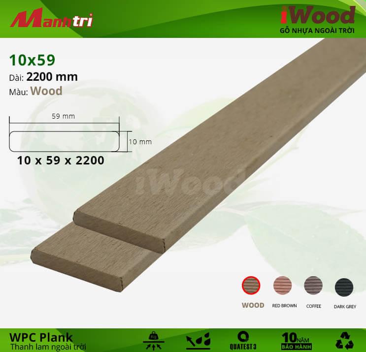 Thanh lam gỗ iWood 10x59-Wood