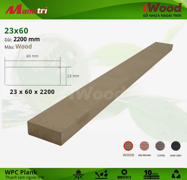Thanh lam gỗ iWood 23x60-Wood