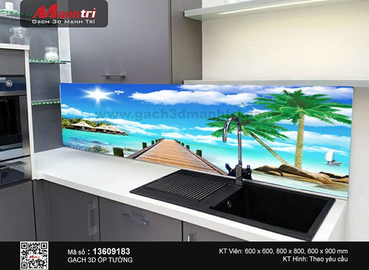 Căn bếp ấm cúng với gạch tranh 3D